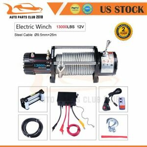 13000lb Electric Winch Recovery Towing Steel Cable Offroad Truck Trailer Suv 12v
