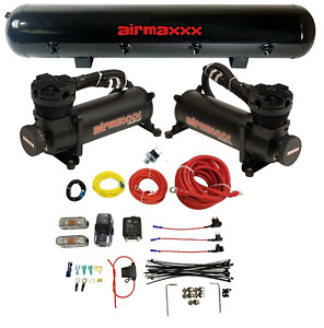 Airmaxxx Black Dual Compressor Wire Kit 5 Gallon Steel 9 Port Tank Air Ride