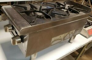 Commercial 2 Burner Restaurant Natural Gas Hot Plate 12 Cecilware Pro Counter