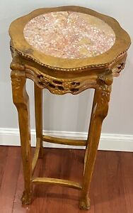 Vintage Large Chinese Finely Carved Wood Marble Round Pedestal Stand Table 36