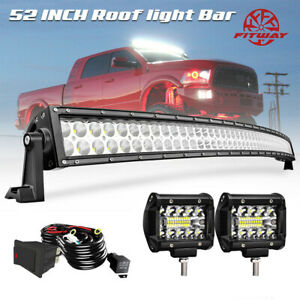 Fit Dodge Ram 1500 2500 3500 Truck Roof Mount 52 Led Light Bar Curved Wire Kit