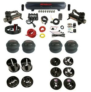 Complete Bolt On Air Ride Suspension Kit W manifold 480 Blk For 65 70 Cadillac