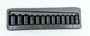 Blue Point 3 8 Drive 13 Pc Sae Metric Shallow Twist Impact Socket Set 213tfsya