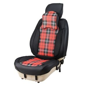 Car Front Seat Cover Cushion Black Red Waist Massage With Headrest Back Support