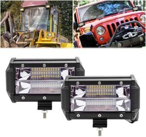 2pcs 5 Inch Cree Led Lights Bar 72w Flood Beam Foglights Ip68 Driving Off road