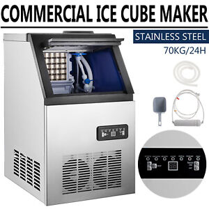 150lbs Commercial Ice Maker Stainless Steel Under Counter Ice Cube Machine Usa