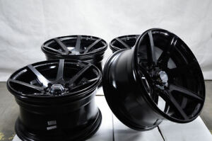 15x8 Wheels Rims 4x100 Cooper Volvo S40 V40 Civic Accord Corolla Gloss Black 4