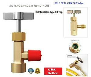 Selfseal Can R134a Can Tap Valve Car Ac 1 2 Acme Tapper Dispensing Refrigerant