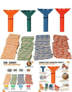 Coin Counters Coin Sorters Tubes Bundle Of 4 Color coded Coin Tubes 100 Wrappers