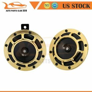 12v 115db 125mm Golden Electric Compact Car Horn Raging Sound For Car Suv Truck