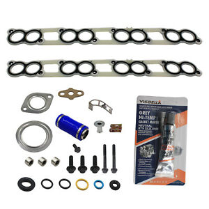 For 03 10ford Powerstroke Diesel 6 0 6 0l Intake Manifold Gasket Set W Blue Hose