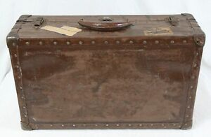 Antique Vintage Wood Hard Sided Steam Trunk Luggage 23 Leather Handle Metal