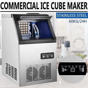132 Lbs Commercial Ice Maker Stainless Built in Bar Restaurant Ice Cube Machine