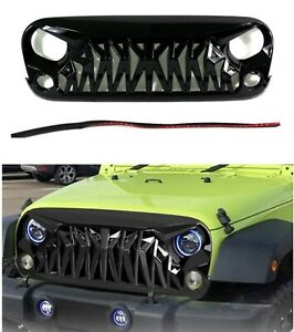 Replacement For Jeep Wrangler Jk Shark Style Gloss Black Abs Grille Grill