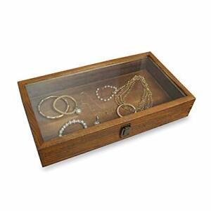 wood Glass Top Jewelry Display Case Accessories Storage Box With