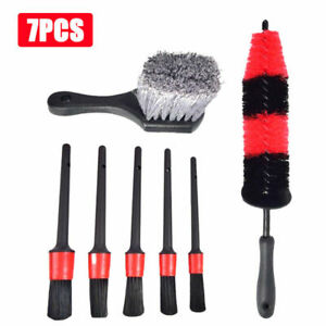 7pcs Car Detailing Brush Kit Boar Hair Vehicle Auto Wheel Clean Brush Set New