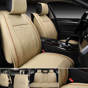 Universal Leather Car Seat Cover Full Set Front Rear Cushion For Year Round Use