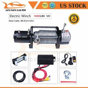 10000lb Off Road Electric Recovery Towing Winch 80 Steel Rope For Jeep Suv 4wd