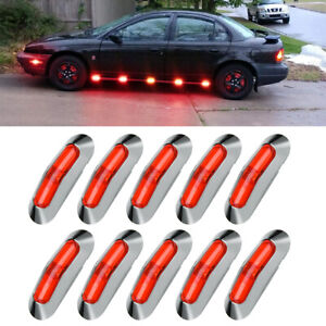 10x Red 4 Led Clearance Side Marker Lights For Car Rv Truck Trailer Pickup 12v