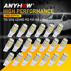 20x Pure White T10 Wedge Canbus 42smd Led License Plate Light Bulbs 912 921 168