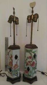 Antique Pair Chinese Porcelain Hexagonal Hat Stand Late Qing Period Table Lamps