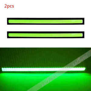 Us 1 Pair 12v Led Strip Drl Daytime Running Light Fog Cob Car Lamp Driving Green