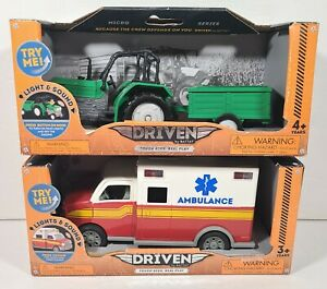 New Driven By Battat Tractor Ambulance Lights Sounds Moving Parts Tough Rig