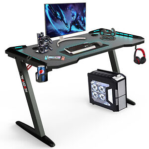 Z shaped Computer Gaming Desk W Rgb Led Lights Mouse Padhome Office Table New