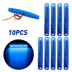 10pcs Blue 9 Led Sealed Side Marker Clearance Light 12v Car Truck Trailer Lorry