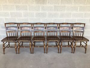 Nichols Stone Paint Decorated Hitchcock Style Maple Side Chairs Set Of 6