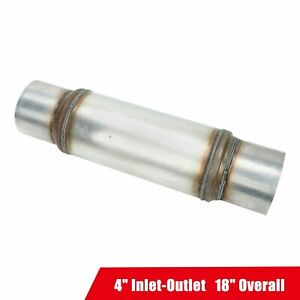 Stainless Steel Performance Diesel Muffler Resonator 4 Inlet Outlet 18 Overall