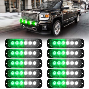10x White green 6led Car Truck Emergency Warning Caution Hazard Strobe Light 12v