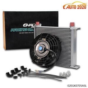 30 Row Engine Transmission 10an Oil Cooler 7 Electric Fan Kit Universal