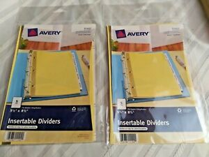 Avery Insertable Dividers 11102 5 1 2 X 8 1 2 5 tab Two Packages
