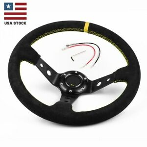 Yellow Us 14 350mm Deep Steering Wheel With Suede Leather Drifting 6 Bolt