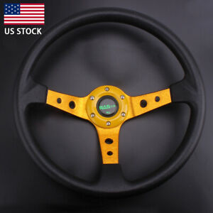 Racing Steering Wheel Universal 14 95mm Deep Dish 6 Bolt With Horn Button