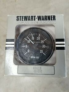 Nos Stewart Warner Tachometer Sw 82619 New In Box 0 3500 Rpm