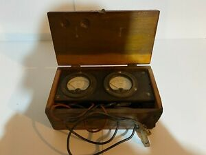 Simpson Dc Voltmeter And Ammeter In Home Made Wood Box Folk Art Electric Meter