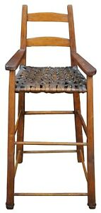 Antique Early American Pine Woven Rattan Shaker High Chair Child Doll Seat