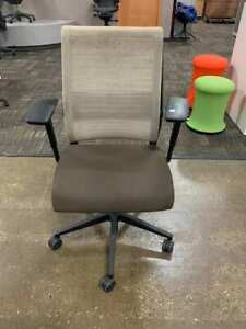 Steelcase Think Chair Loaded Tan And Brown Fabric Great Condition Free Ship