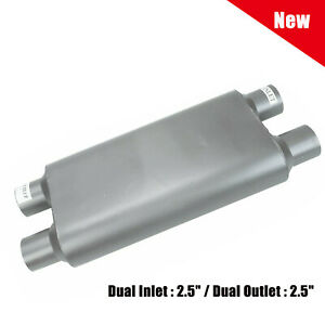 Universal Aluminized Chamber Race Muffler 2 5 Dual Inlet outlet 23 Overall