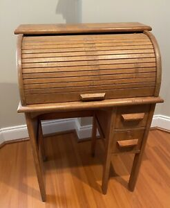 Antique Vintage Wooden Child S Roll Top Desk