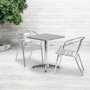 Durable 23 5 Square Aluminum Indoor outdoor Table Set W 2 Slat Back Chairs