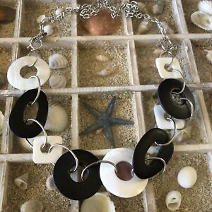 Cookie Lee Chain Necklace w Mother of Pearl and Black Wood Discs $5.00