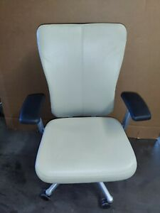 Haworth Zody Task Chair Tan Color Leather 5 star Base With Casters Lumbar