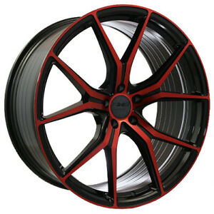 22x8 5 22x10 5 114 30 Str907 Staggered Magic Red Made For Ford Mustang