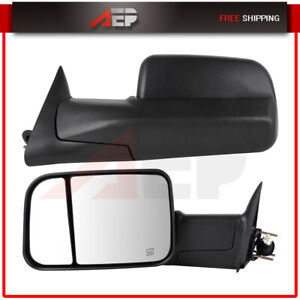 Fits 1998 2002 Dodge Ram 2500 3500 Truck Power Heated Towing Mirrors Pair Set