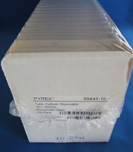 Pack 250 Pyrex Disposable Culture Tubes 15ml 16mm X 100mm 99445 16