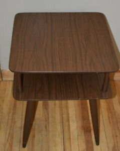 Vintage Mid Century Formica End Side Table Retro Wood Legs Brass Tip Furniture