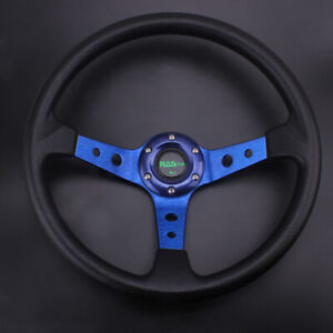 Racing Steering Wheel 350mm 14 95mm Deep Dish 6 Bolt Pu Leather Horn Button Us